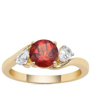 Red Labradorite Ring with White Zircon in 9K Gold 1.37cts