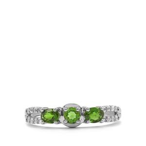 Chrome Diopside & White Topaz Sterling Silver Ring ATGW 0.87cts