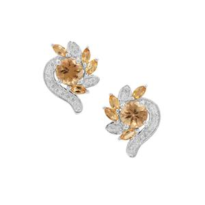 Scapolite, Diamantina Citrine Earrings with White Zircon in Sterling Silver 2.44cts