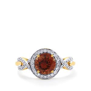 Color Change Garnet Ring with Diamond in 18k Gold 2.12cts