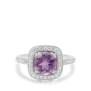 Moroccan Amethyst & White Zircon Sterling Silver Ring ATGW 2.37cts