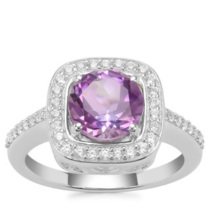 Moroccan Amethyst Ring with White Zircon in Sterling Silver 2.37cts