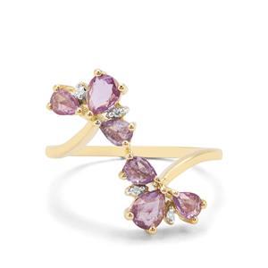 Rose Cut Purple Sapphire & Diamond 9K Gold Ring ATGW 1.06cts