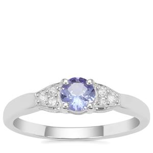 Tanzanite Ring with White Zircon in Sterling Silver 0.55ct
