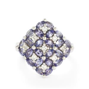 Tanzanite & White Topaz Sterling Silver Ring ATGW 2.44cts