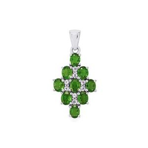 Chrome Diopside Pendant with White Topaz in Sterling Silver 3.74cts