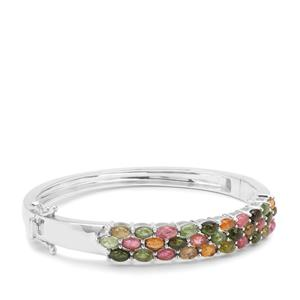 Multi-Colour Tourmaline Bangle in Sterling Silver 8.06cts