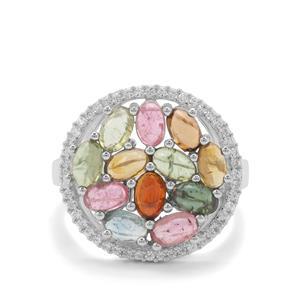 Pederneira Multi-Colour Tourmaline & White Zircon Sterling Silver Ring ATGW 3.46cts