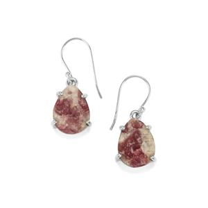 Pink Tourmaline Drusy Earrings in Sterling Silver 18cts