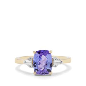 AA Tanzanite Ring with White Zircon in 9K Gold 2.24cts