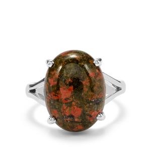 9.10ct Unakite Sterling Silver Aryonna Ring