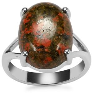 Unakite Ring in Sterling Silver 9.10cts