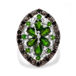 Chrome Diopside & Black Spinel Sterling Silver Ring ATGW 3.61cts