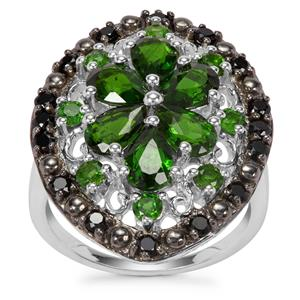 Chrome Diopside Ring with Black Spinel in Sterling Silver 3.61cts