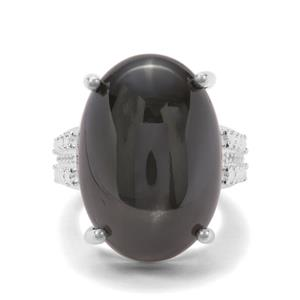 Black Star Diopside & White Topaz Sterling Silver Ring ATGW 43.78cts