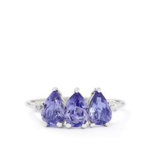 AA Tanzanite & White Zircon 10K White Gold Ring ATGW 1.94cts