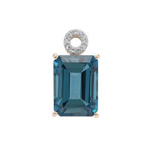 Marambaia London Blue Topaz & Diamond 9K Gold Tomas Rae Pendant ATGW 10.10cts
