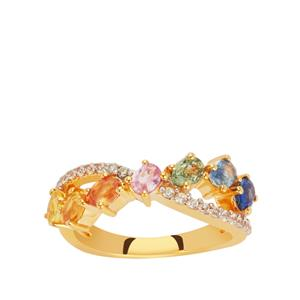 Tunduru Multi-Colour Sapphire Ring with White Zircon in Vermeil 2cts