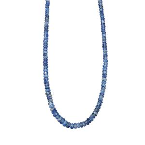 72ct Himalayan Kyanite Sterling Silver Graduated Bead Necklace
