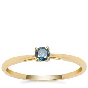 Blue Diamond Ring in 9K Gold 0.15ct