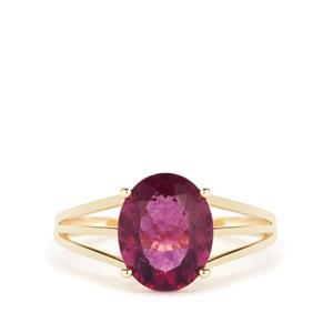 2.90ct Natural Pink Fluorite 9K Gold Ring