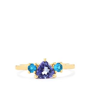 AA Tanzanite Ring with Neon Apatite in 10K Gold 0.90ct