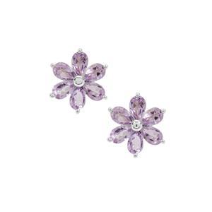 4.80ct Rose De France Amethyst Sterling Silver Earrings