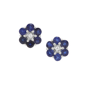 Nilamani Earrings with White Zircon in Sterling Silver 1.99cts