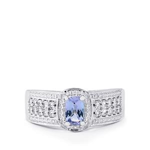 Tanzanite & White Topaz Sterling Silver Ring ATGW 0.91cts