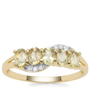 Chrysoberyl Ring with White Diamond in 9K Gold 1cts