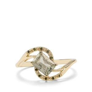 Csarite® & Green Diamond 9K Gold Ring ATGW 1.07cts
