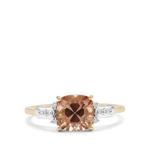 Watermelon Oregon Sunstone & Diamond 9K Gold Ring ATGW 1.39cts