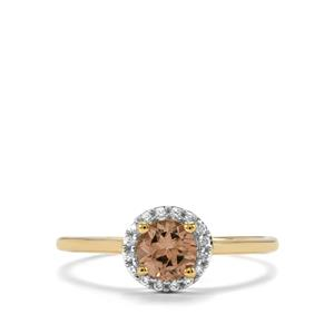 Natural Tanzanian Champagne Garnet  Ring with White Zircon in 10k Gold 0.83cts