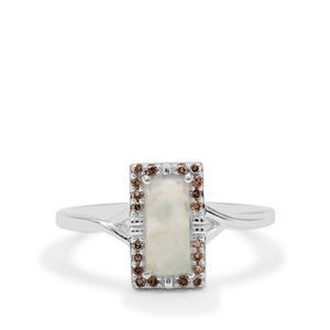 Gem-Jelly™ Aquaprase™ & Champagne Diamond Sterling Silver Ring ATGW 1cts