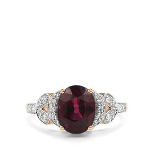 Malawi Garnet Ring with Diamond in 18K Gold 3.65cts