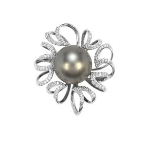 Tahitian Cultured Pearl Pendant with Diamond in 18K White Gold (14.50mm)