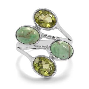 Australian Variscite Ring with Changbai Peridot in Sterling Silver 6cts