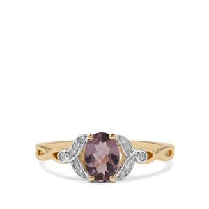 Mahenge Purple Spinel Ring with Diamond in 9K Gold 0.87ct
