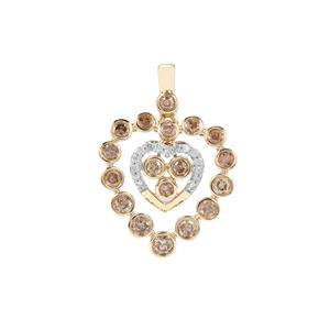 Champagne Diamond Pendant with White Diamond in 9K Gold 0.79ct