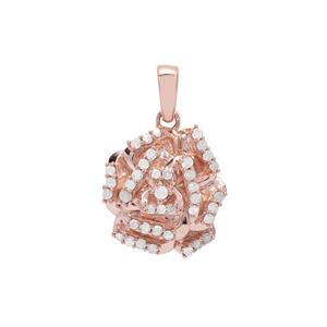 Diamond Pendant in Rose Gold Plated Sterling Silver 0.26ct