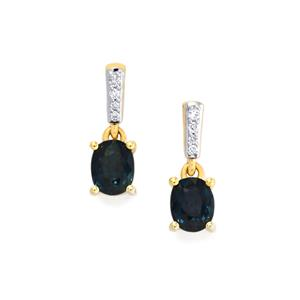 Nigerian Blue Sapphire Earrings with Diamond in 18k Gold 1.30cts
