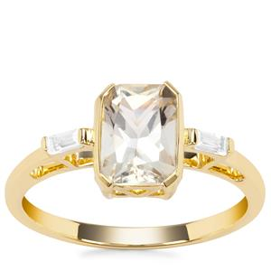 Cuprian Sunstone Ring with White Zircon in 9K Gold 1.57cts