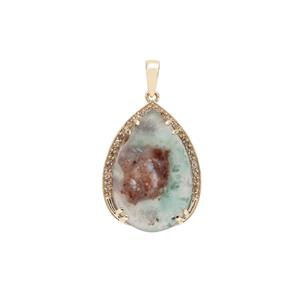 Aquaprase™ Pendant with Champagne Diamond in 9K Gold 14.10cts