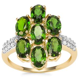 Chrome Diopside Ring with White Zircon in 9K Gold 3.97cts