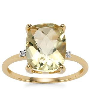 Chartreuse Sanidine Ring with White Zircon in 10k Gold 3.12cts