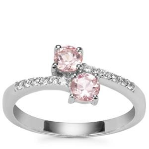 Kaffe Tourmaline Ring with White Zircon in Sterling Silver 0.67ct