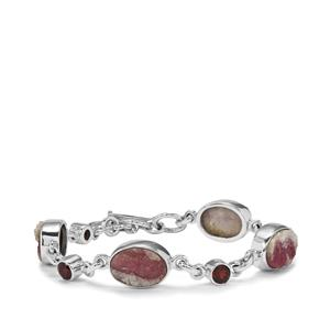 Pink Tourmaline Drusy Bracelet with Nampula Garnet in Sterling Silver 30cts