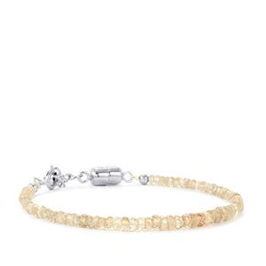 White Zircon Bead Bracelet with Magnetic Lock in Sterling Silver 25cts