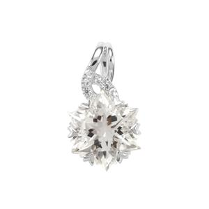 Wobito Snowflake Cut Itinga Petalite Pendant with White Zircon in 10K White Gold 3.64cts