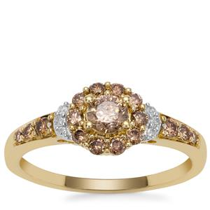 Champagne Diamond Ring with White Diamond in 9K Gold 0.76ct